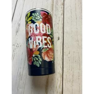 Stainless Steel floral print Good Vibes tumbler